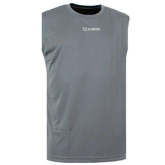 Chlapecké funkční triko bez rukávu ALTISPORT ALCOR-J ALJS16015 TMAVĚ ŠEDÁ