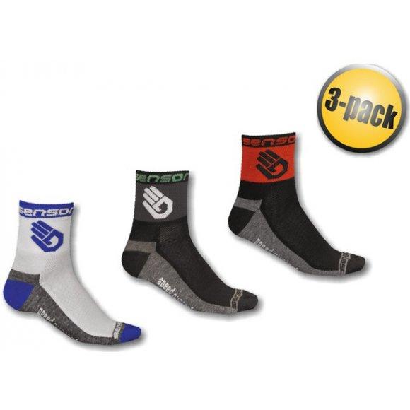 Ponožky Sensor 3-PACK RACE LITE HAND černá/modrá/červená