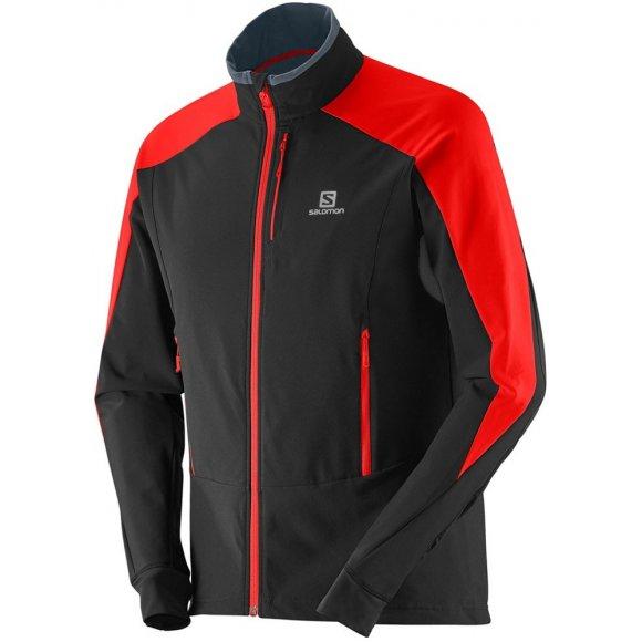 Pánská běžkařská bunda Salomon Momemtum Softshell Jacket M black/matador-x/black