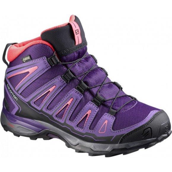 Dětské trekové boty Salomon X-Ultra MID GTX® J Cosmic purple/rain purple/madder pink