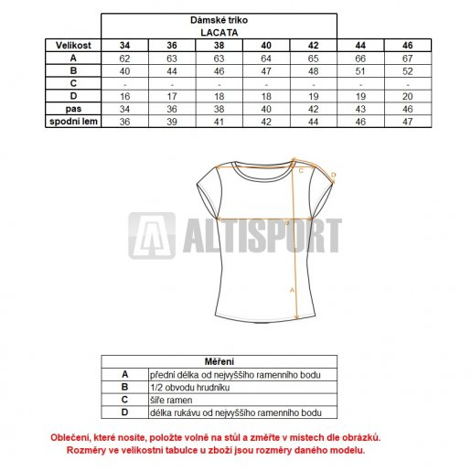 Dámské triko ALTISPORT LACATA ALLW17067 MODRÁ