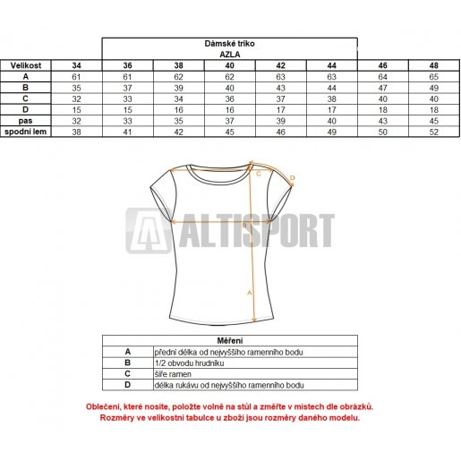 Dámské triko ALTISPORT AZLA ALLW17061 ČERNÁ