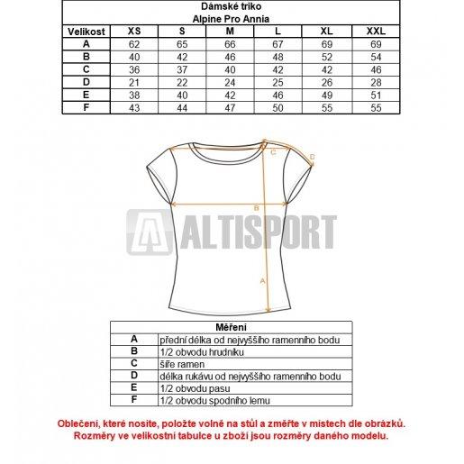 Dámské triko ALPINE PRO ANNIA LTSK237 ČERNÁ