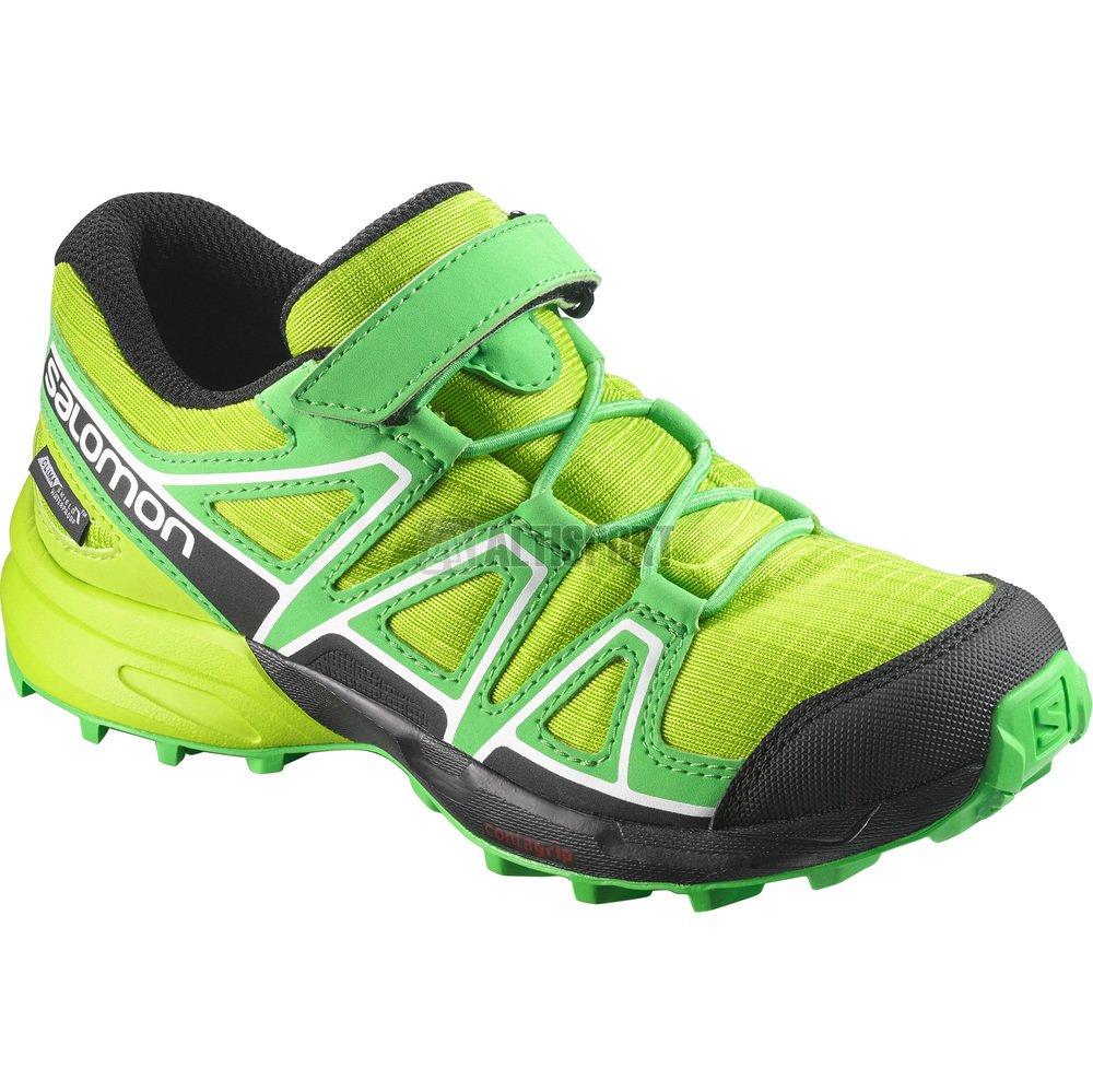 60273e2b0df Dětské běžecké boty SALOMON SPEEDCROSS CSWP K L39844000 LIME GREEN CLASSIC  GREEN BLACK