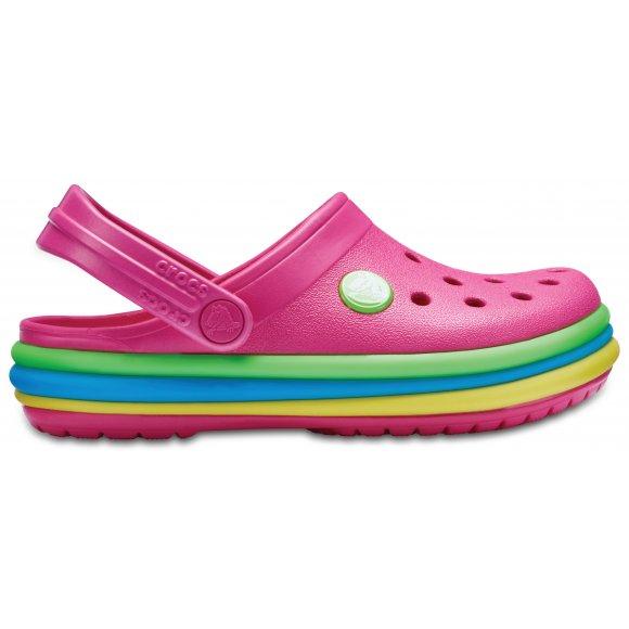 Dětské pantofle CROCS CB RAINBOW BAND CLOG 205205-6NP PARADISE PINK
