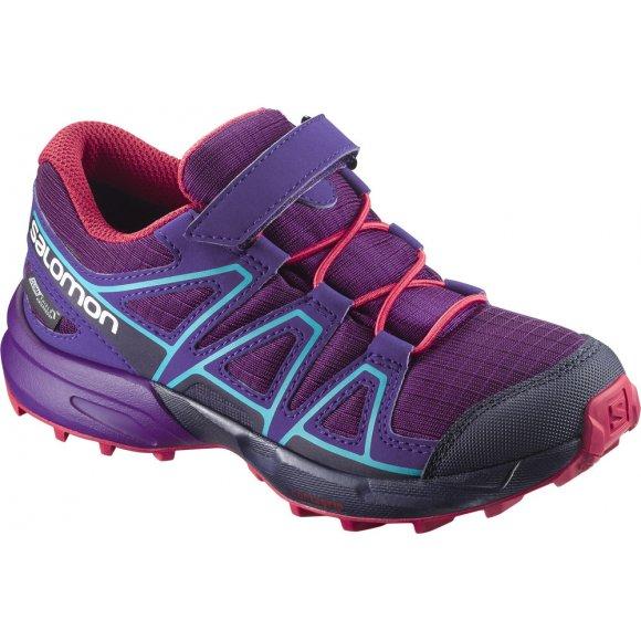 Dětské běžecké boty SALOMON SPEEDCROSS CSWP K L39844100 GRAPE JUICE/EVENING BLUE/BLUEBIRD