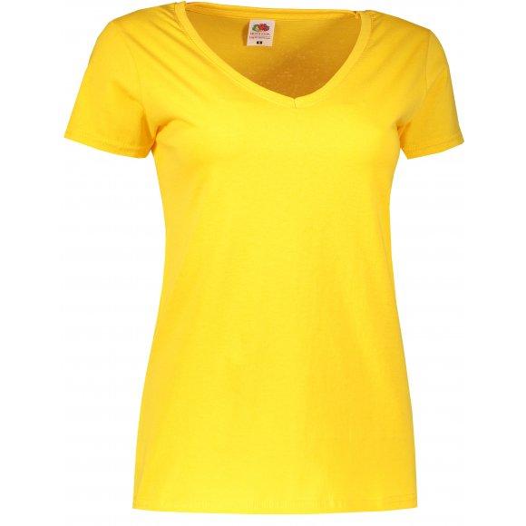 Dámské tričko FRUIT OF THE LOOM LADY FIT V-NECK  SUNFLOWER