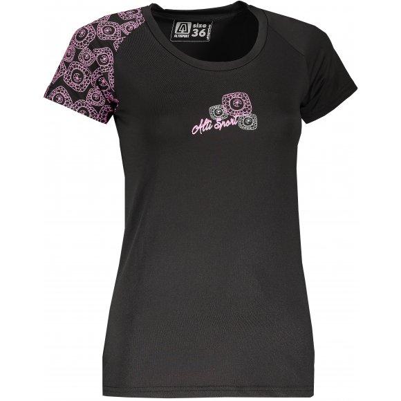 Dámské funkční triko ALTISPORT MARELA ALLS18069 ČERNORŮŽOVÁ