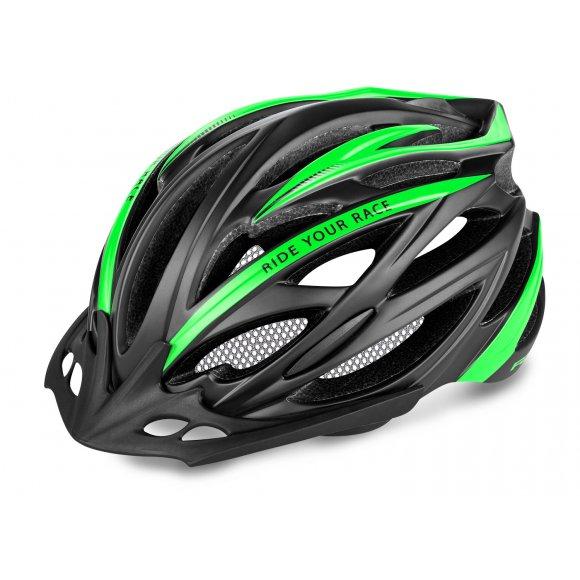 Cyklistická helma R2 ARROW ATH04K ČERNÁ/ZELENÁ MATNÁ
