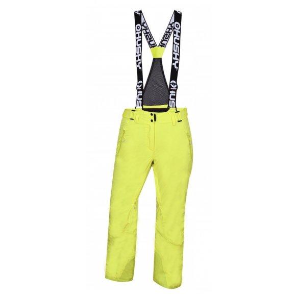Dámské lyžařské kalhoty HUSKY MITHY L ZELENOŽLUTÁ