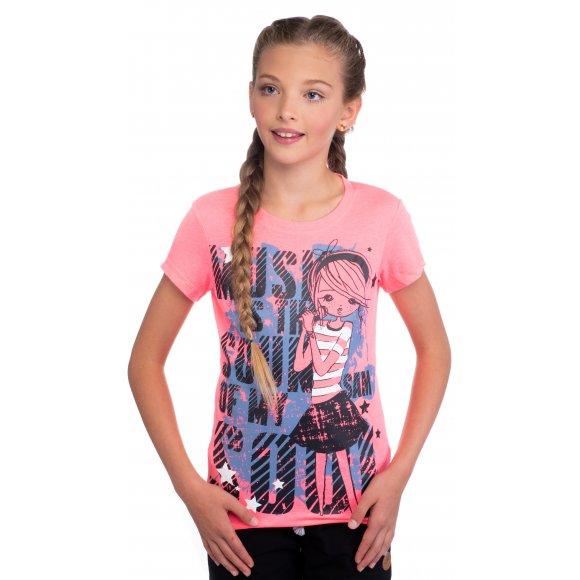 Dívčí triko s krátkým rukávem SAM 73 GT 517 RŮŽOVÁ