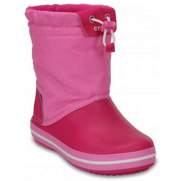 Dětské zimní boty CROCS KIDS CROCBAND LODGE POITN BOOT 203509-6LR CANDY PINK/PARTY PINK