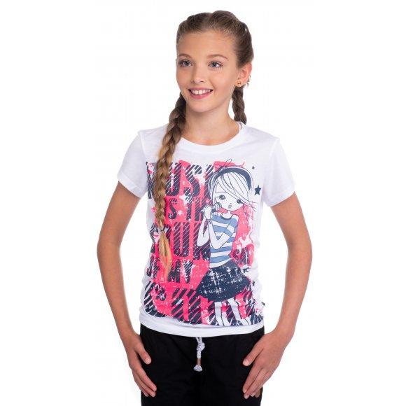 Dívčí triko s krátkým rukávem SAM 73 GT 517 BÍLÁ