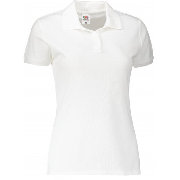 Dámské tričko s límečkem FRUIT OF THE LOOM LADY FIT PREMIUM POLO WHITE