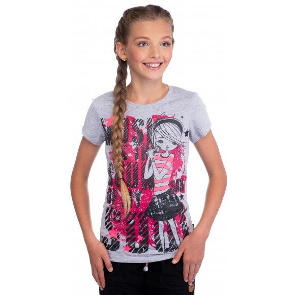 Dívčí triko s krátkým rukávem SAM 73 GT 517 SVĚTLE ŠEDÁ