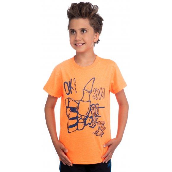 Chlapecké triko s krátkým rukávem SAM 73 BT 518 ORANŽOVÁ NEON