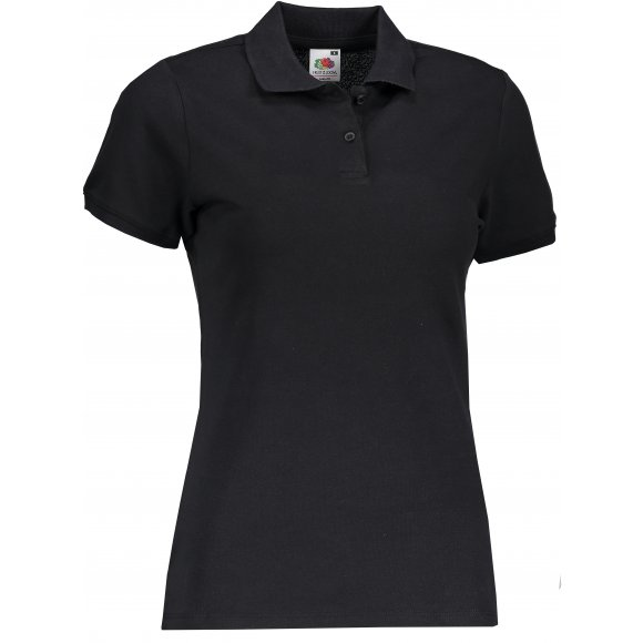 Dámské triko s límečkem FRUIT OF THE LOOM FIT POLO BLACK
