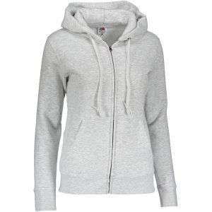 Dámská mikina s kapucí FRUIT OF THE LOOM PREMIUM HOODED SWEAT HEATHER GREY