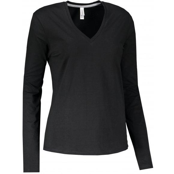 Dámské triko s dlouhým rukávem KARIBAN V-NECK BLACK