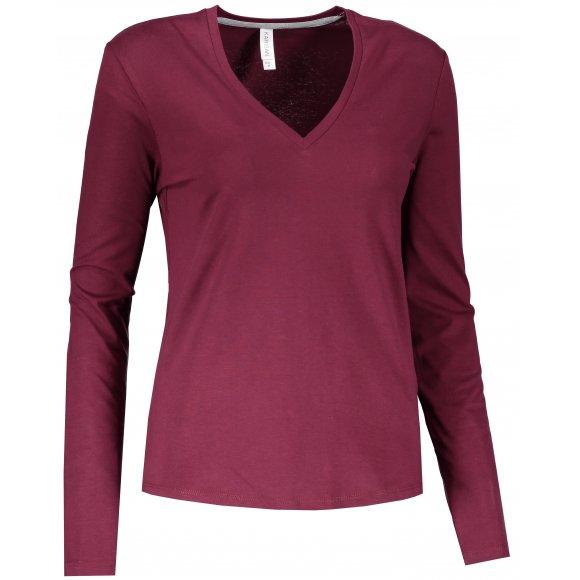 Dámské triko s dlouhým rukávem KARIBAN V-NECK WINE
