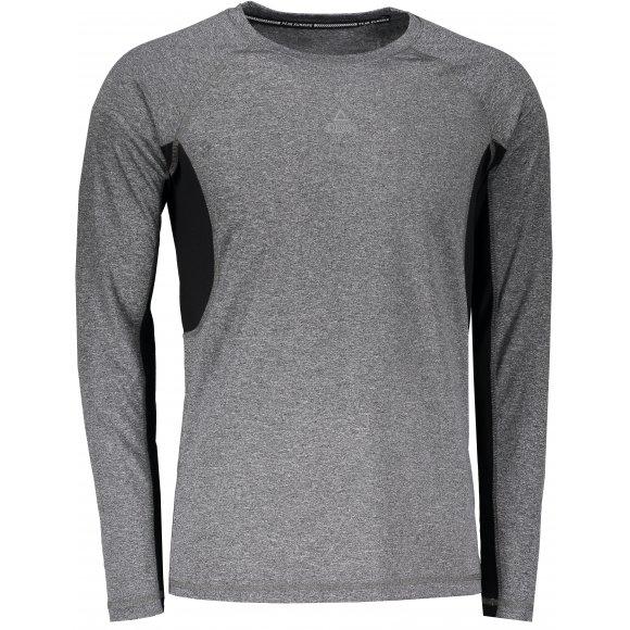 Pánské funkční triko PEAK ROUND NECK LONG T SHIRT FW67559 TMAVĚ ŠEDÁ MELANGE