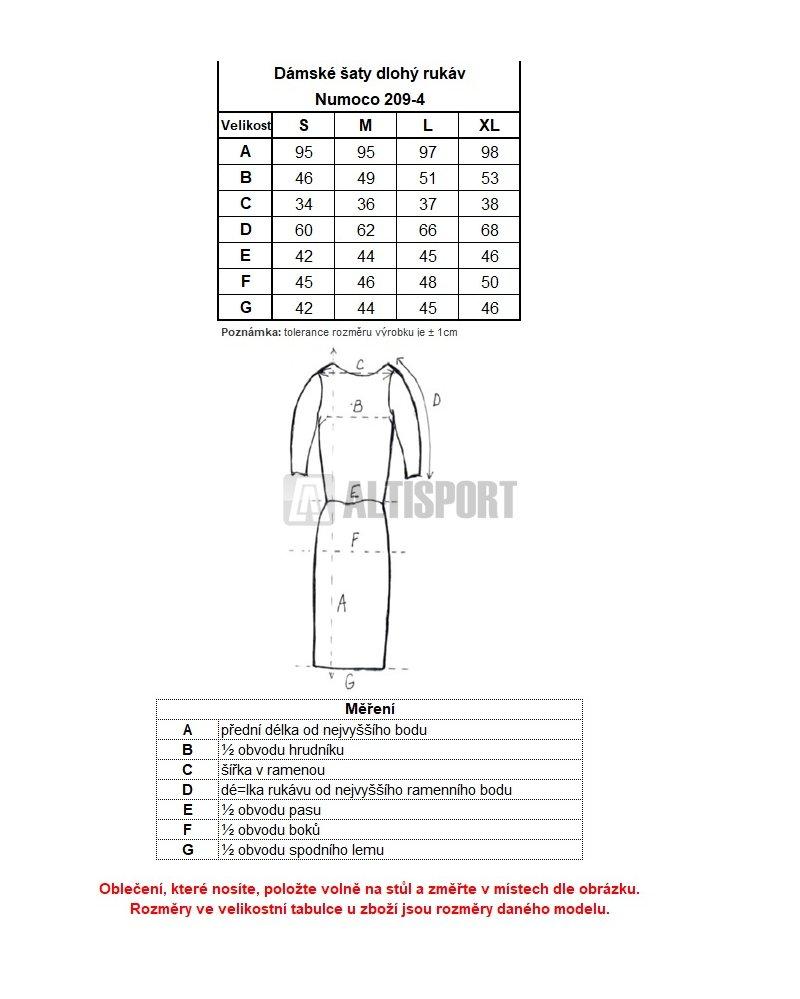 0487777218b Dámské šaty NUMOCO A209-3 VÍNOVÁ velikost  S   ALTISPORT.cz