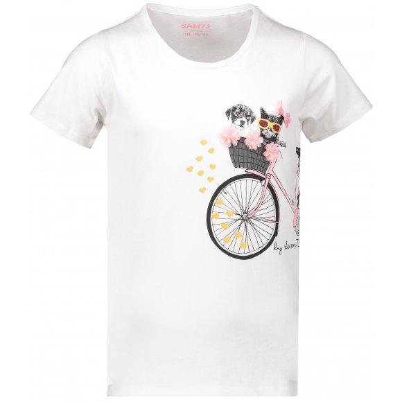 Dívčí triko SAM 73 TOMBEO KTSN204 BÍLÁ