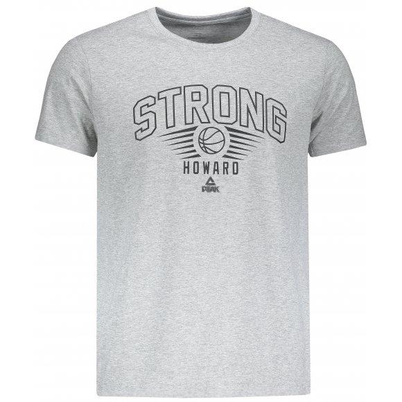 Pánské triko s krátkým rukávem PEAK ROUND NECK T SHIRT FW691141 ŠEDÁ MELANGE