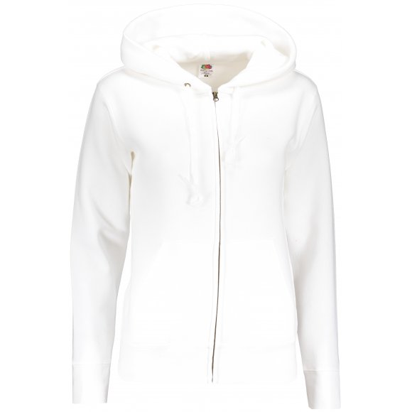 Dámská mikina FRUIT OF THE LOOM PREMIUM HOODED SWEAT JACKET WHITE
