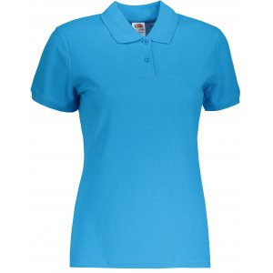 Dámské triko s límečkem FRUIT OF THE LOOM LADY-FIT PREMIUM POLO AZURE BLUE
