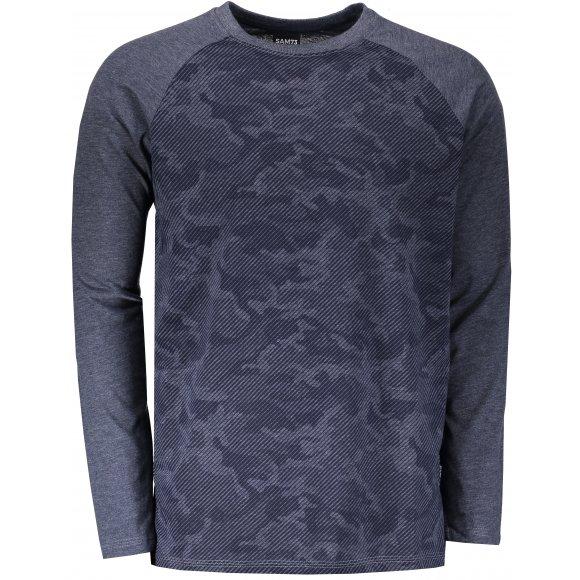 Pánské triko s dlouhým rukávem SAM 73 MT 759 TMAVĚ MODRÁ
