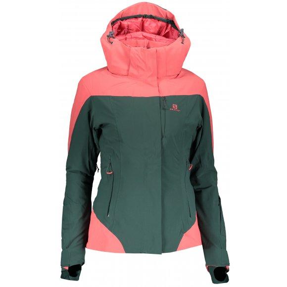 Dámská lyžařská bunda SALOMON ICEROCKET JKT W LC1215100 GREEN GABLES/GARNET ROSE