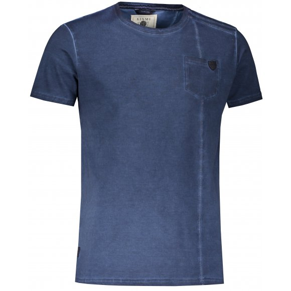 Pánské triko s krátkým rukávem KIXMI JACOB TMAVĚ MODRÁ