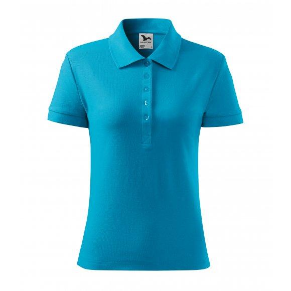 Dámské triko s límečkem MALFINI COTTON 213 TYRKYSOVÁ