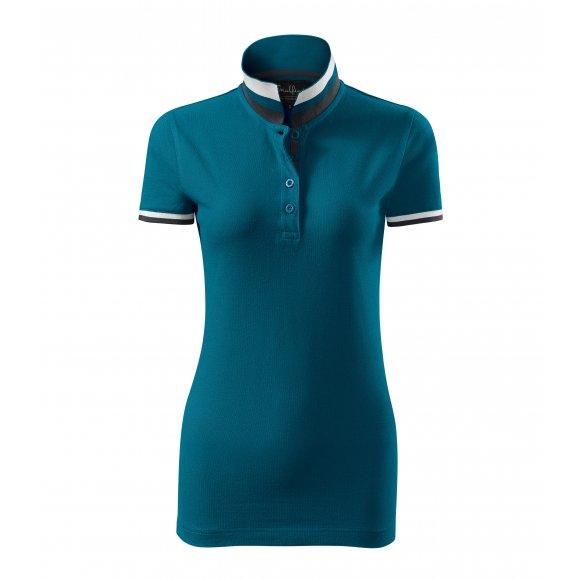 Dámské triko s límečkem MALFINI PREMIUM COLLAR UP 257 PETROLEJOVÁ