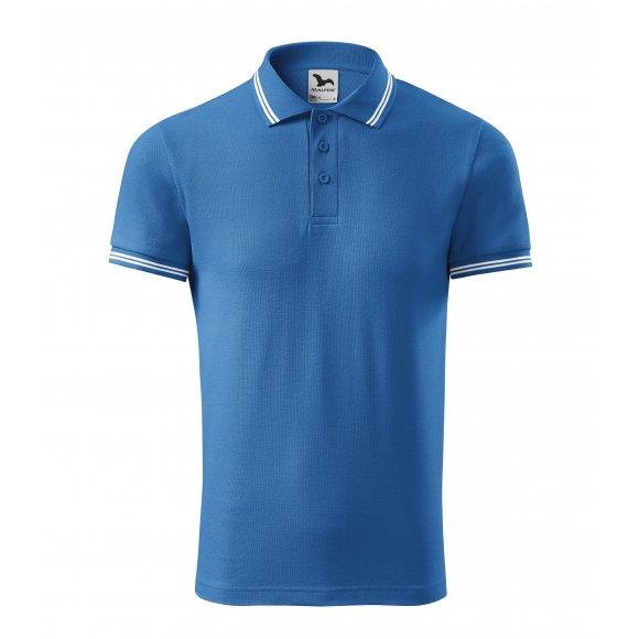 Pánské triko s límečkem MALFINI URBAN 219 AZUROVĚ MODRÁ