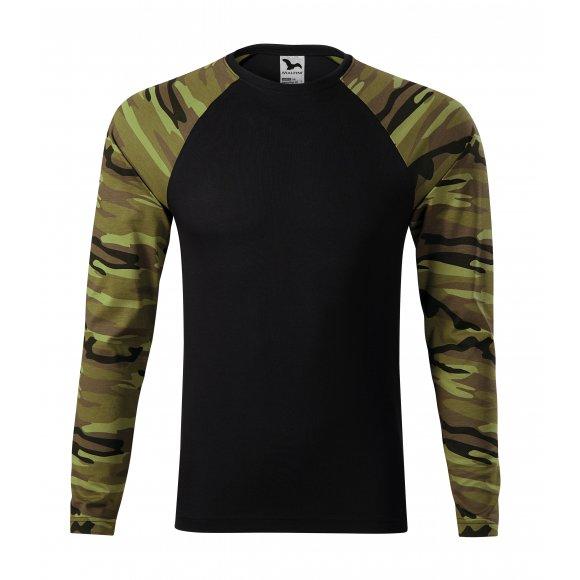 Pánské triko s dlouhým rukávem MALFINI CAMOUFLAGE LS 166 CAMOUFLAGE GREEN