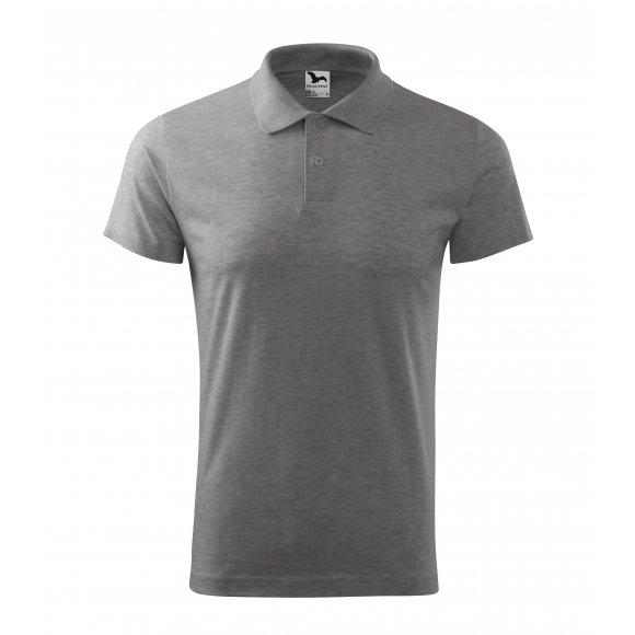 Pánské triko s límečkem MALFINI SINGLE J. 202 TMAVĚ ŠEDÝ MELÍR