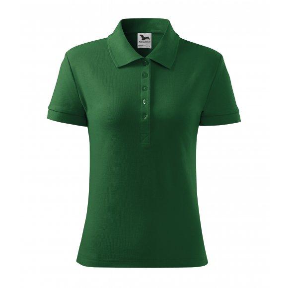 Dámské triko s límečkem MALFINI COTTON 213 LAHVOVĚ ZELENÁ