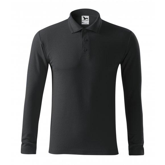 Pánské triko s dlouhým rukávem a límečkem MALFINI PIQUE POLO LS 221 EBONY GRAY