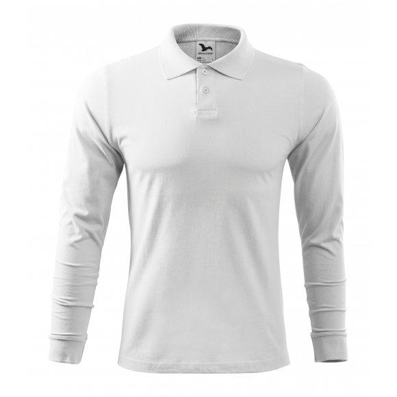 Pánské triko s dlouhým rukávem a límečkem MALFINI SINGLE J. LS 211 BÍLÁ