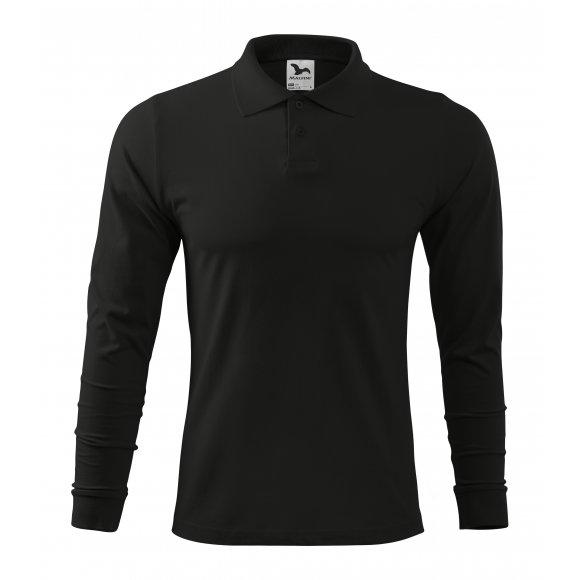 Pánské triko s dlouhým rukávem a límečkem MALFINI SINGLE J. LS 211 ČERNÁ