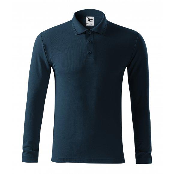 Pánské triko s dlouhým rukávem a límečkem MALFINI PIQUE POLO LS 221 NÁMOŘNÍ MODRÁ
