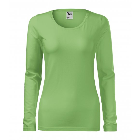 Dámské triko s dlouhým rukávem MALFINI SLIM 139 TRÁVOVĚ ZELENÁ