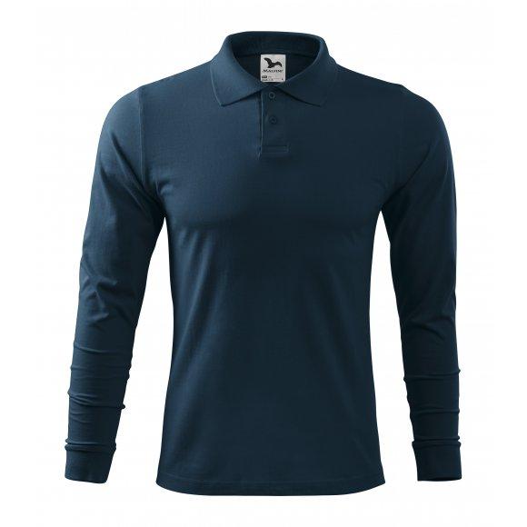 Pánské triko s dlouhým rukávem a límečkem MALFINI SINGLE J. LS 211 NÁMOŘNÍ MODRÁ