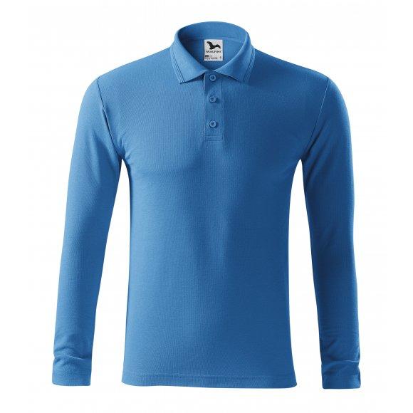 Pánské triko s dlouhým rukávem a límečkem MALFINI PIQUE POLO LS 221 AZUROVĚ MODRÁ