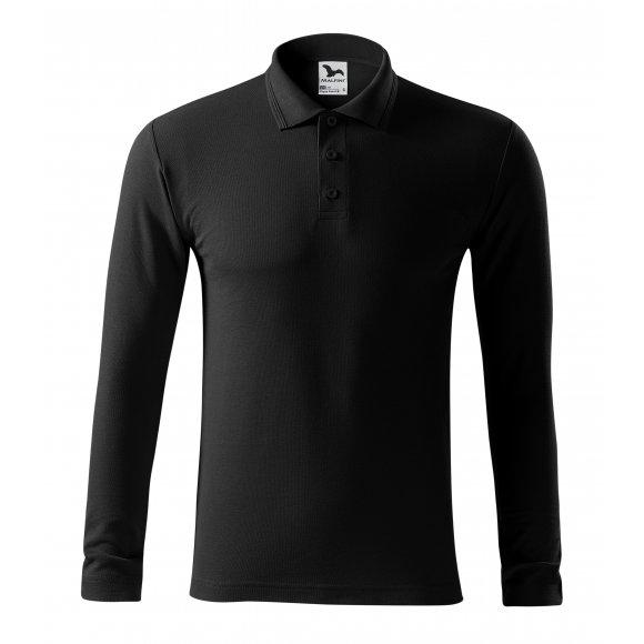 Pánské triko s dlouhým rukávem a límečkem MALFINI PIQUE POLO LS 221 ČERNÁ