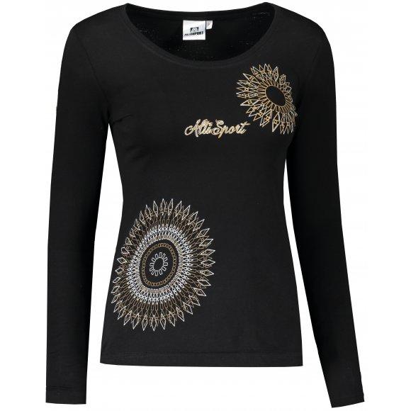 Dámské triko s dlouhým rukávem ALTISPORT ALW024169 ČERNÁ