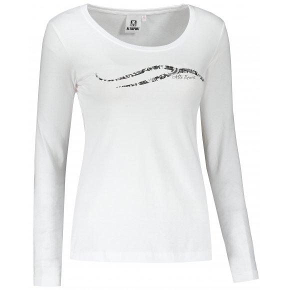 Dámské triko s dlouhým rukávem ALTISPORT ALW001169 BÍLOČERNÁ