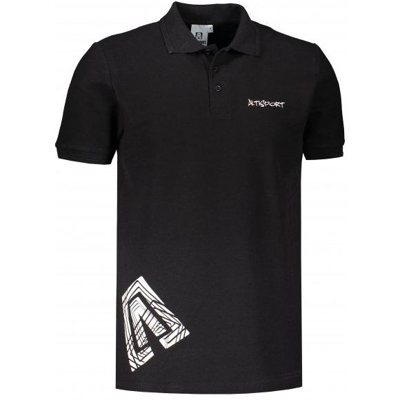 Pánské triko s límečkem ALTISPORT ALM013203 ČERNOBÍLÁ